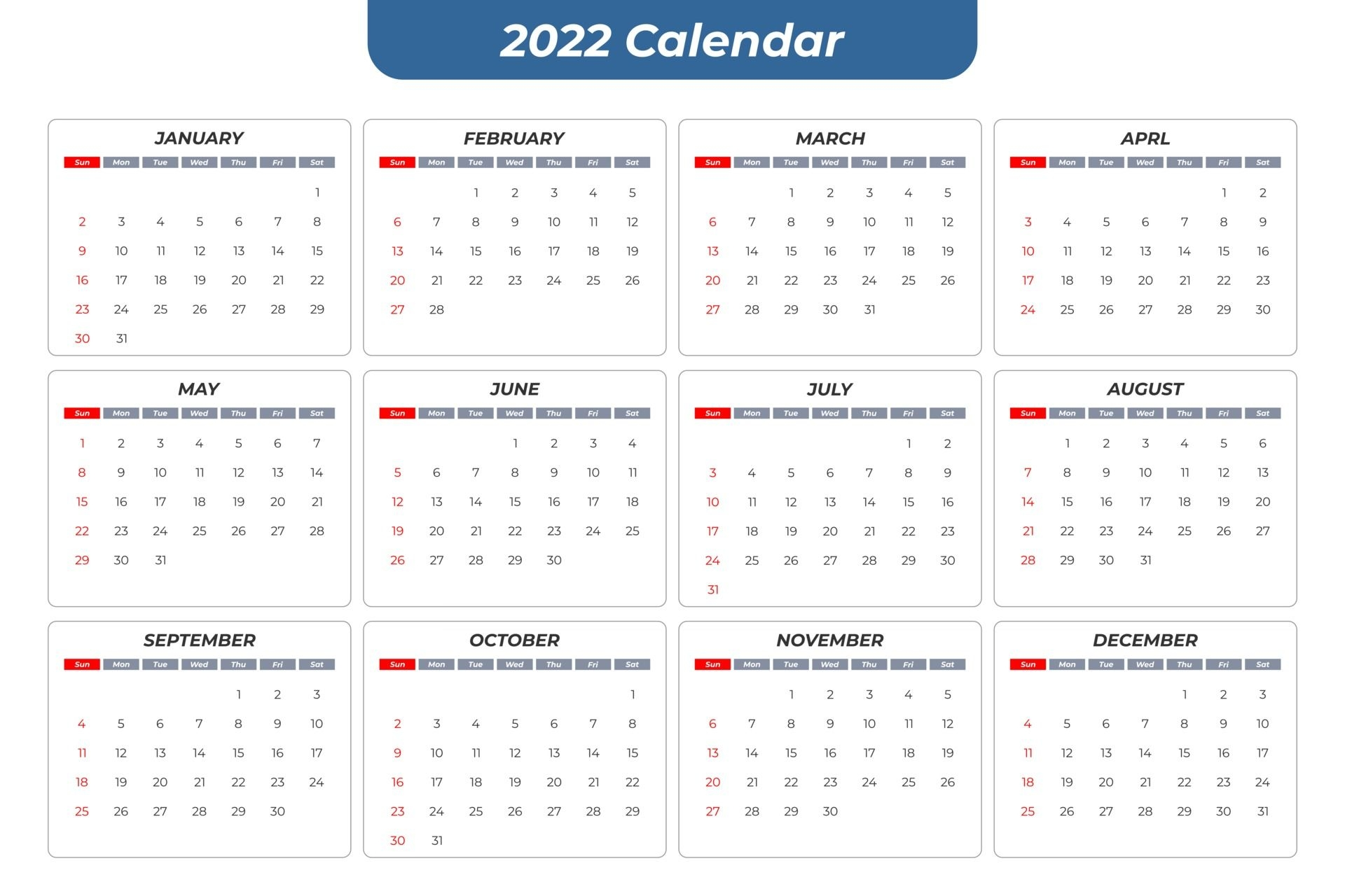 2022 Basic Calendar 2774857 Vector Art At Vecteezy