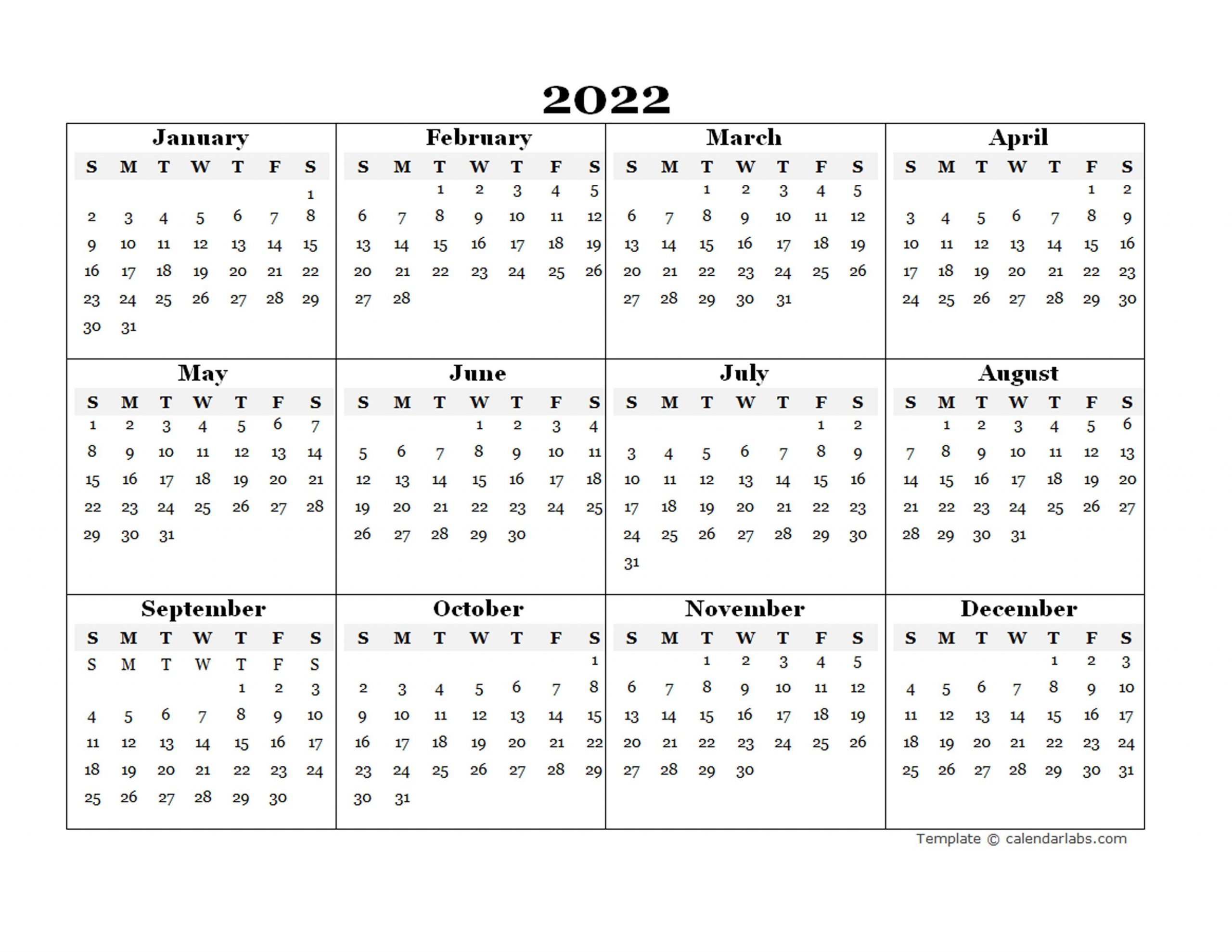 2022 Blank Yearly Calendar Template - Free Printable Templates