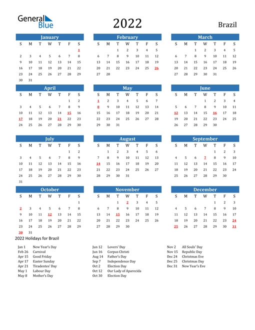 2022 Brazil Calendar With Holidays