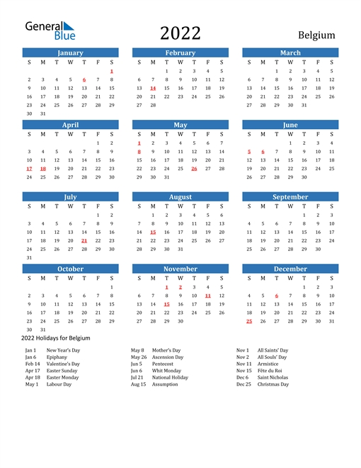 2022 Calendar - Belgium With Holidays