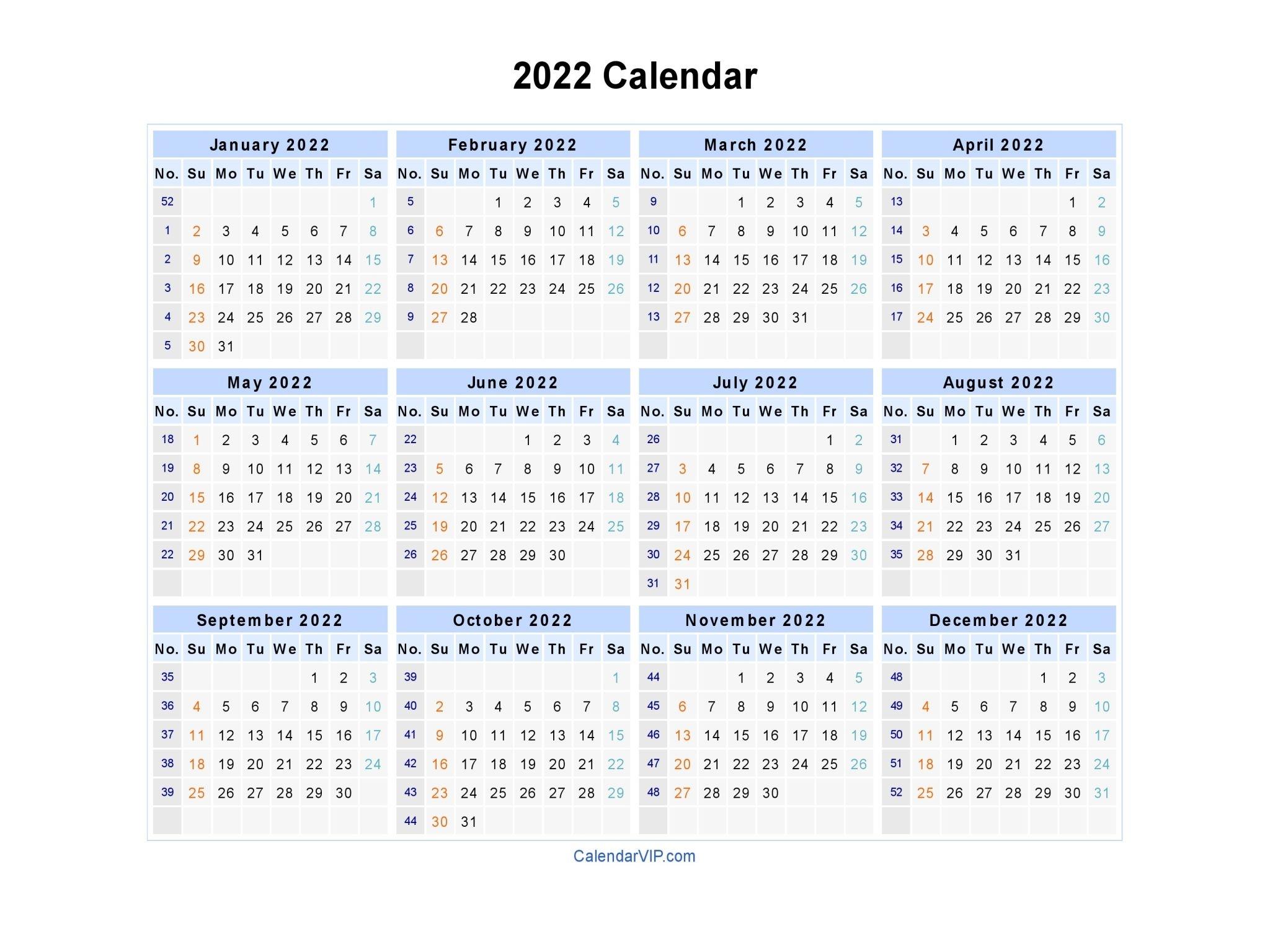 2022 Calendar - Blank Printable Calendar Template In Pdf