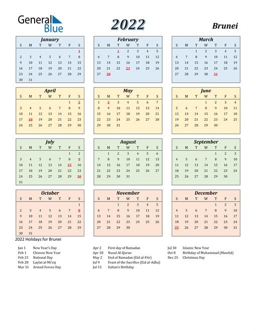 2022 Calendar - Brunei With Holidays