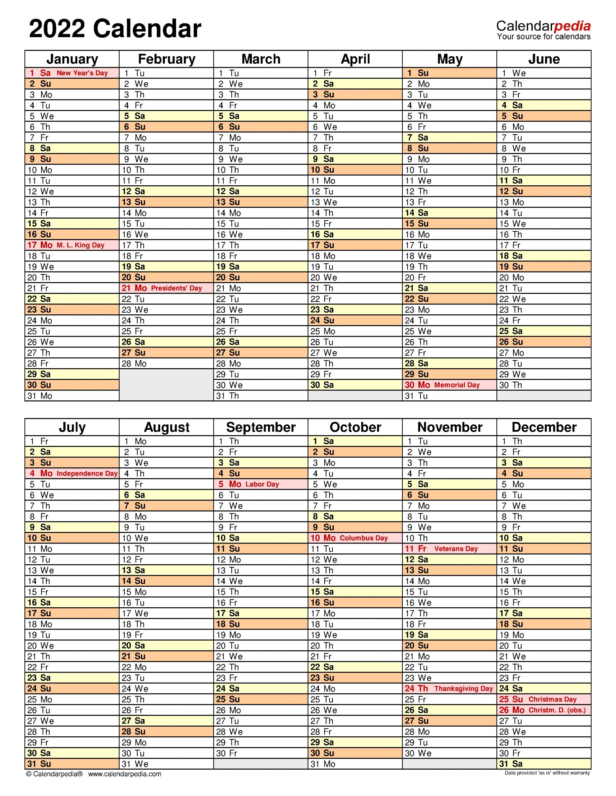 2022 Calendar Calendarpedia - Nexta