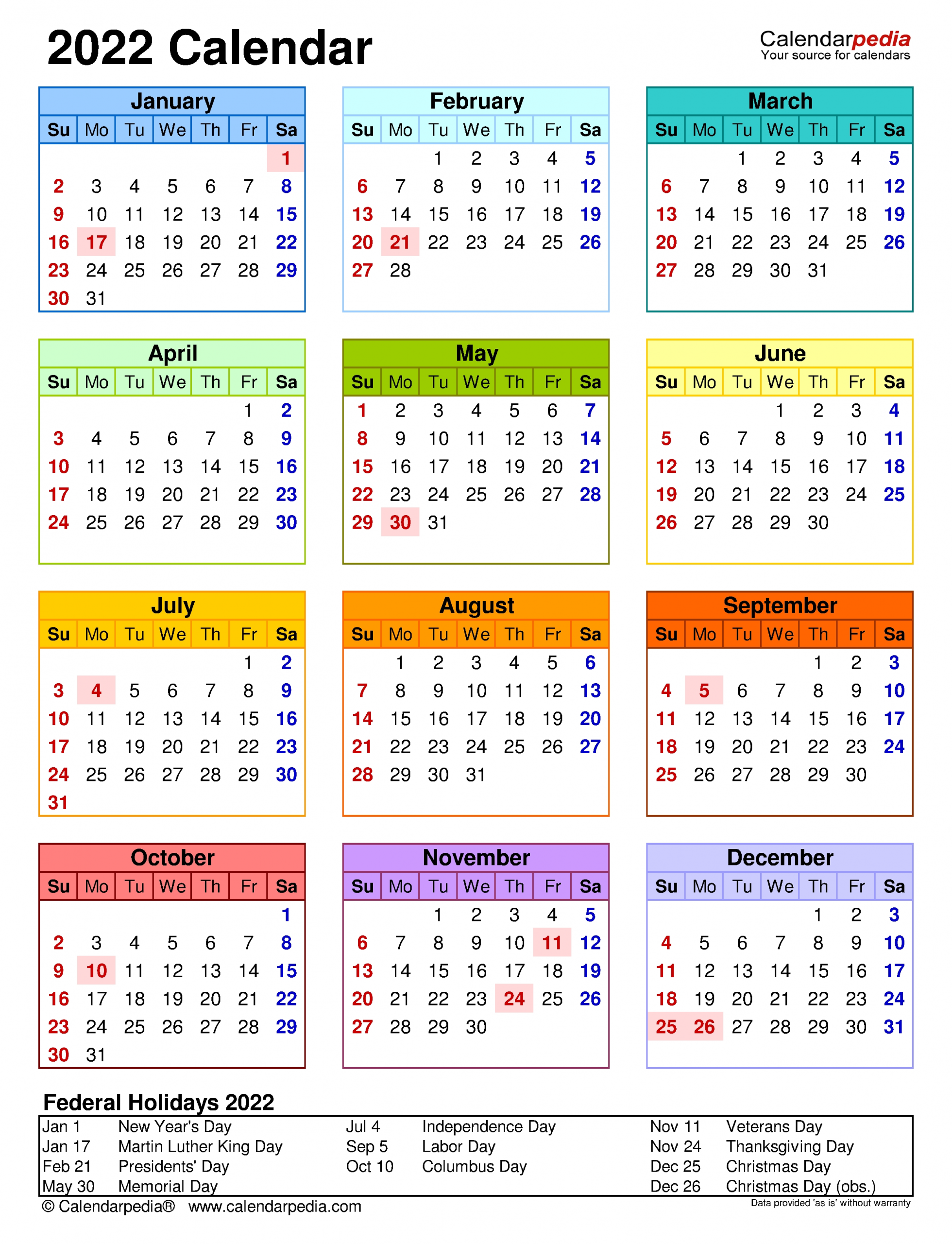 2022 Calendar - Free Printable Excel Templates - Calendarpedia