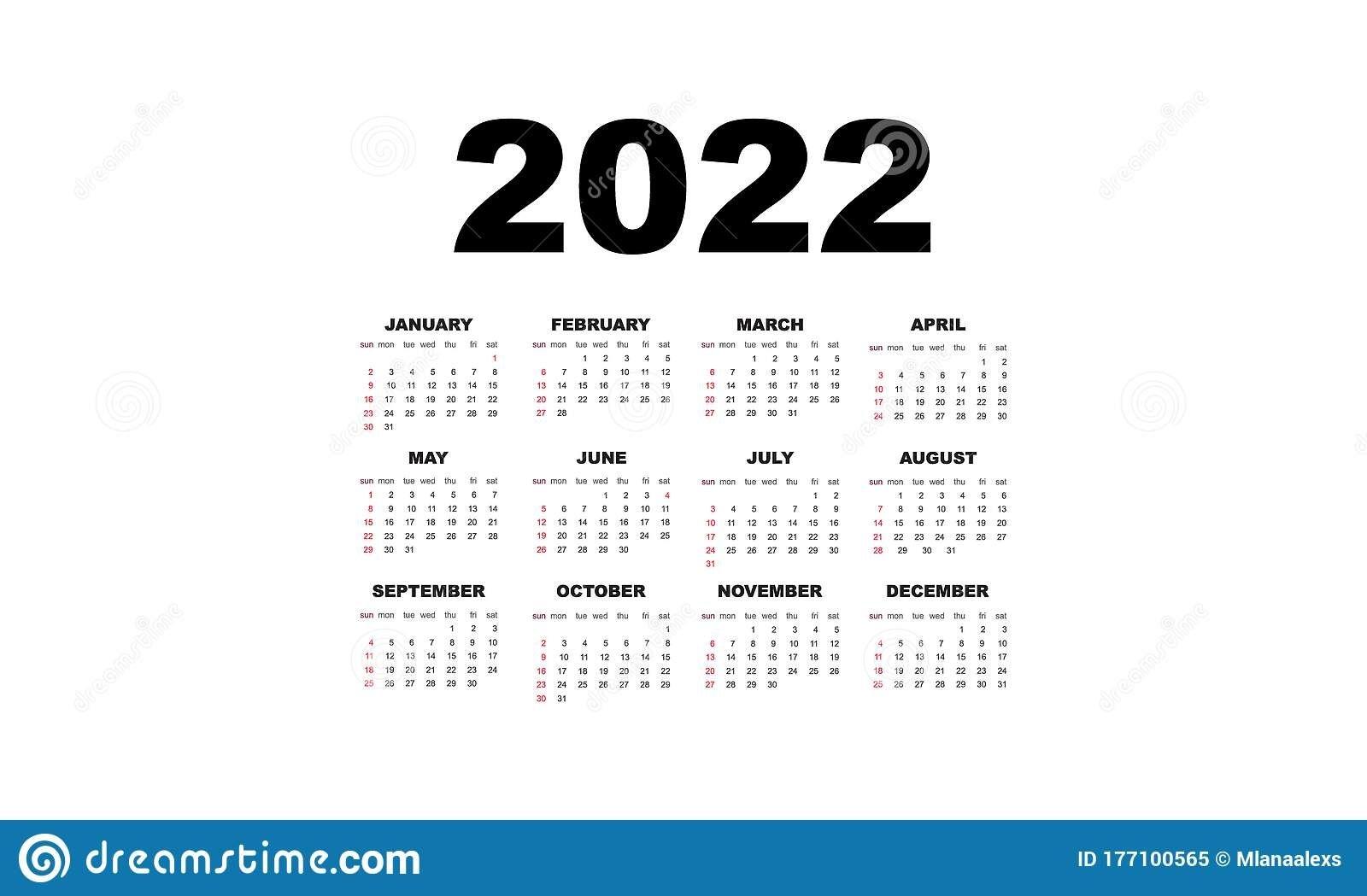 2022 Calendar Horizontal Vector Design Template, Simple