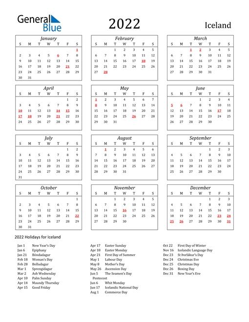 2022 Calendar - Iceland With Holidays