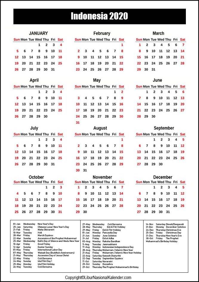 2022 Calendar Indonesia - Nexta
