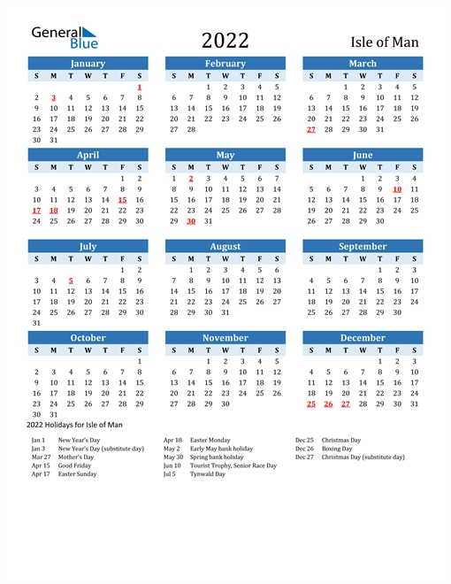 2022 Calendar - Isle Of Man With Holidays