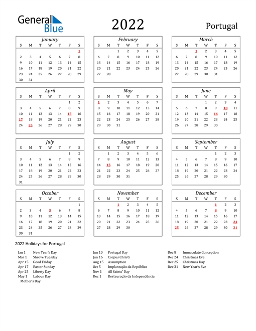 2022 Calendar - Portugal With Holidays