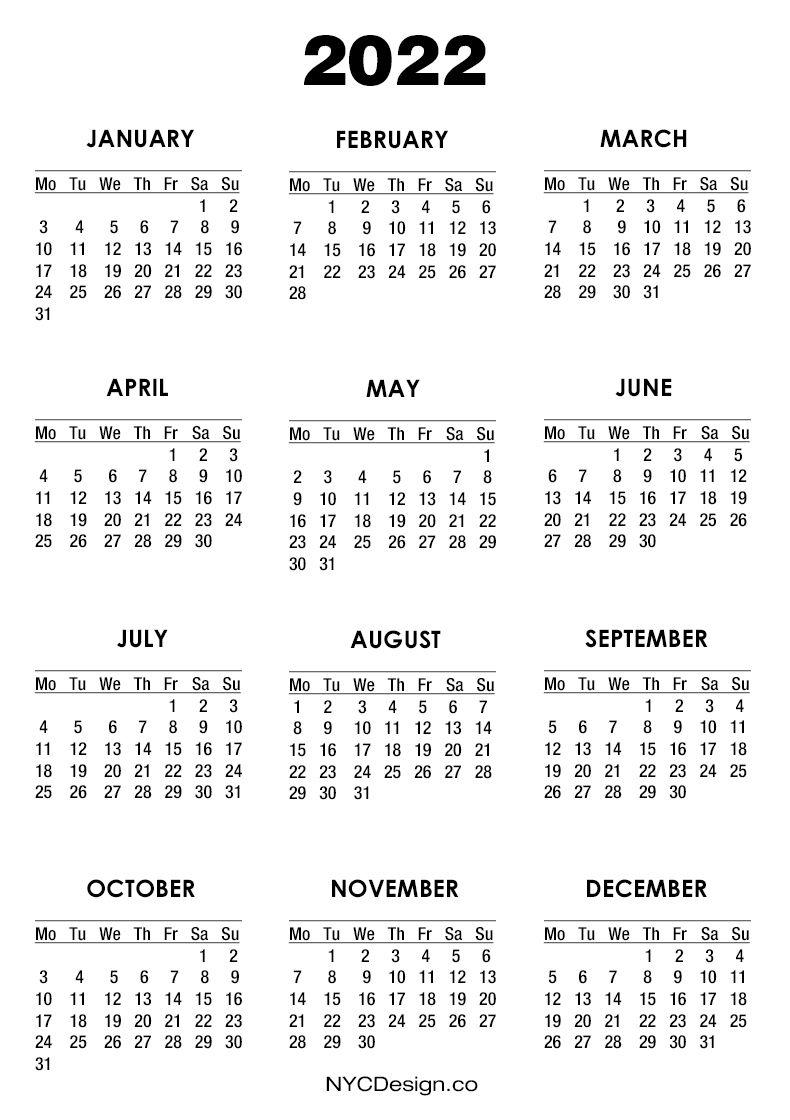 2022 Calendar Printable Free, White - Monday Start
