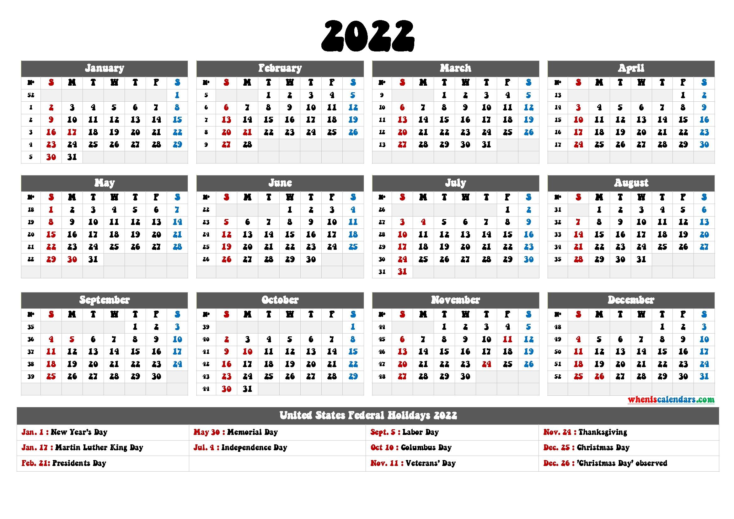 2022 Calendar Printable Pdf - 6 Templates