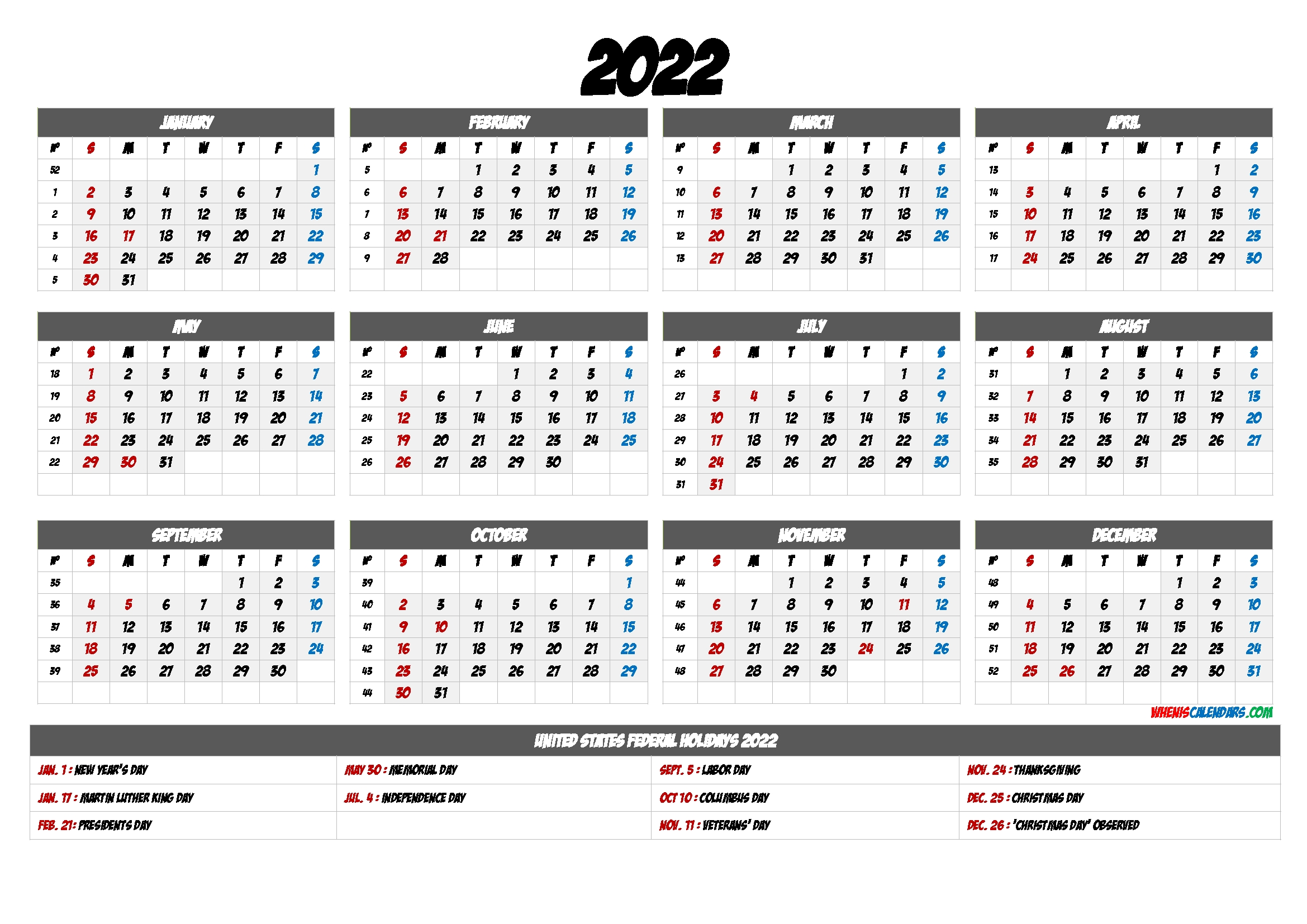 2022 Calendar Printable Pdf - 9 Templates - Free Printable