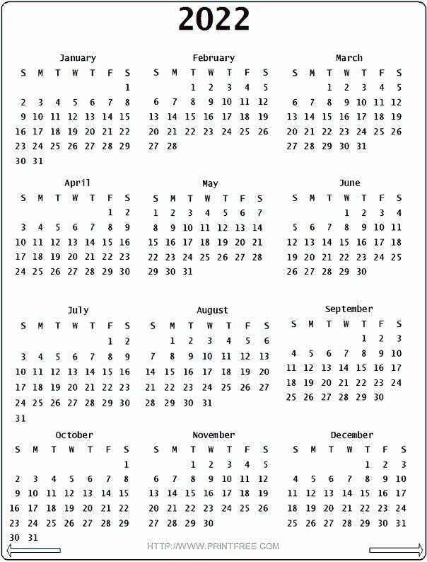 2022 Calendar - Printable Year Calendar