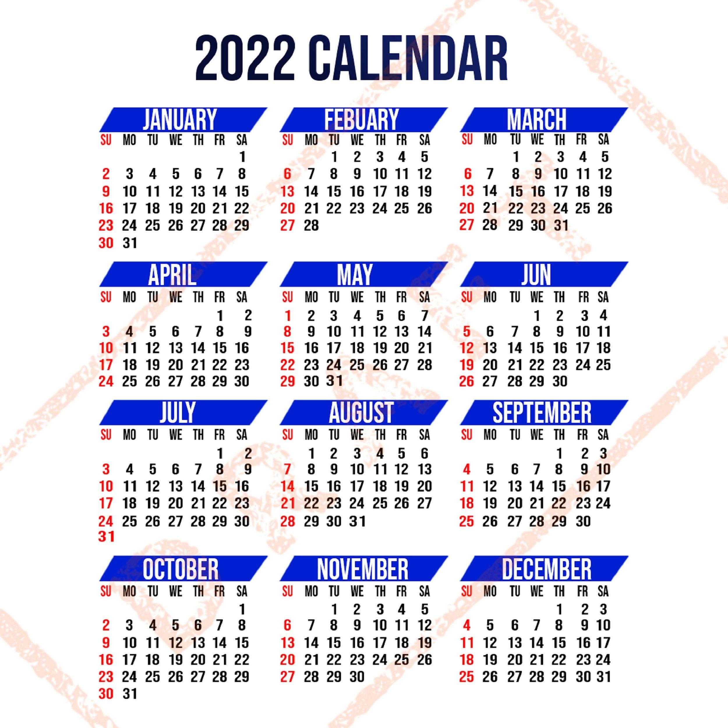 2022 Calendar Printable Yearly Calendar 12-Months Calendar