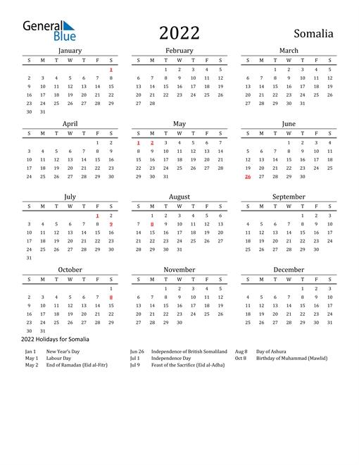 2022 Calendar - Somalia With Holidays