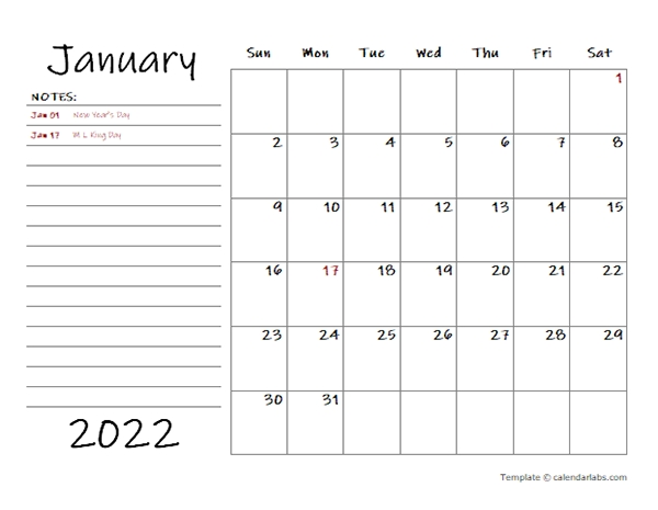 2022 Calendar Template With Monthly Notes - Free Printable