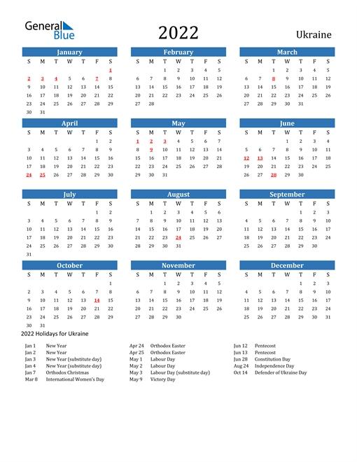 2022 Calendar - Ukraine With Holidays