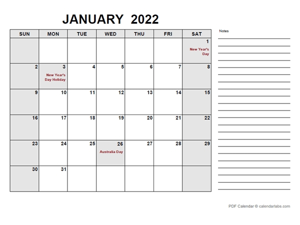2022 Calendar With Australia Holidays Pdf - Free Printable