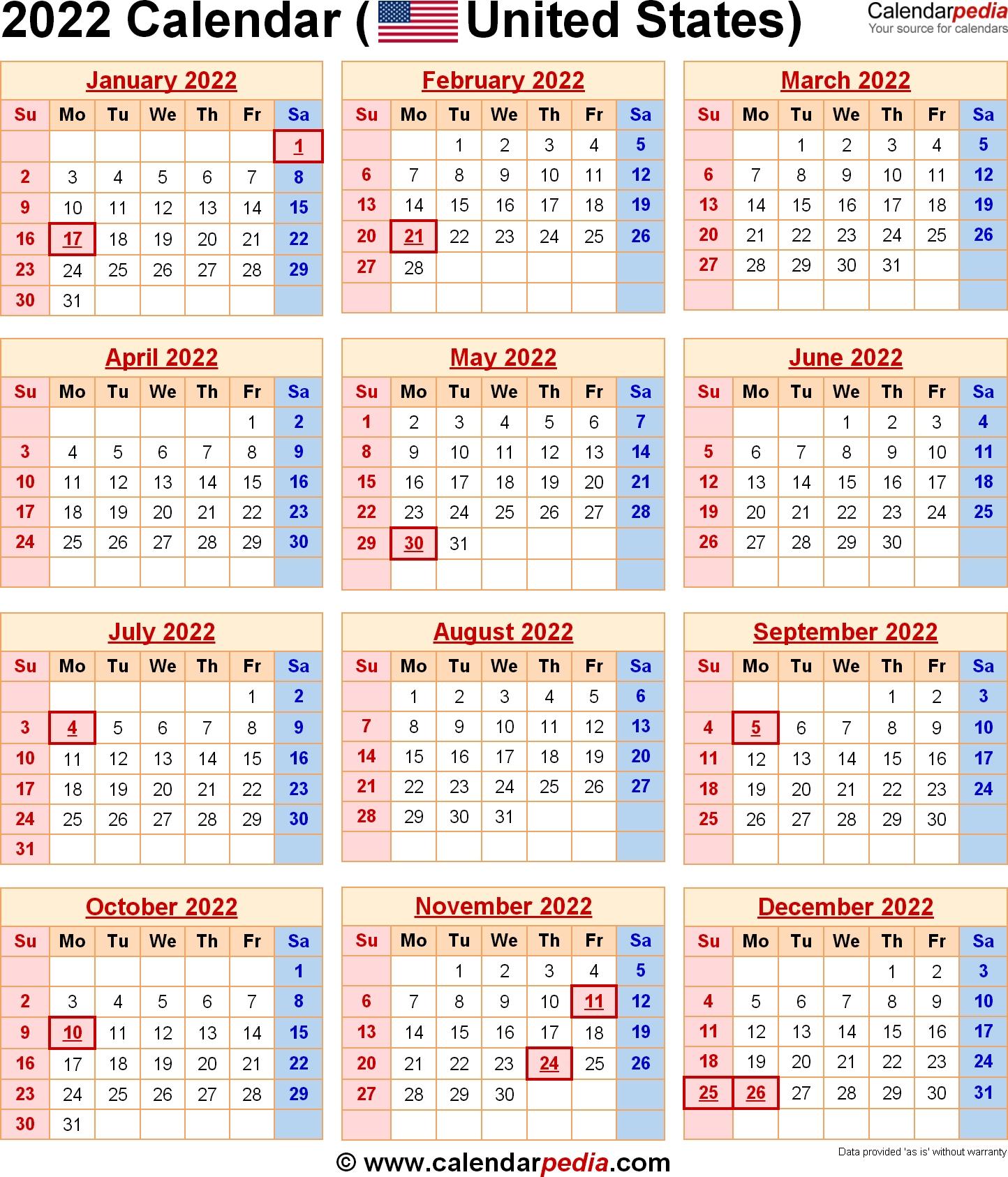 2022 Calendar With Federal Holidays