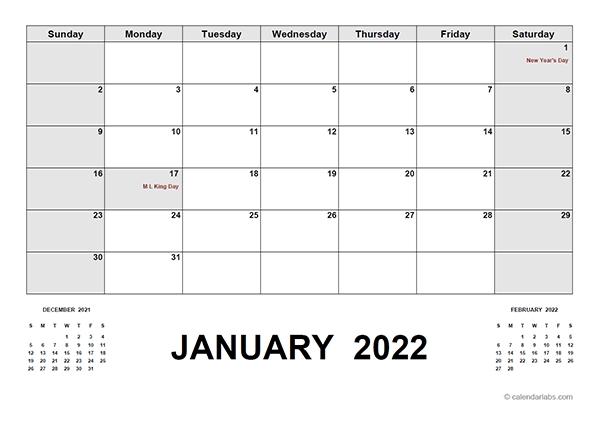 2022 Calendar With Holidays Pdf - Free Printable Templates