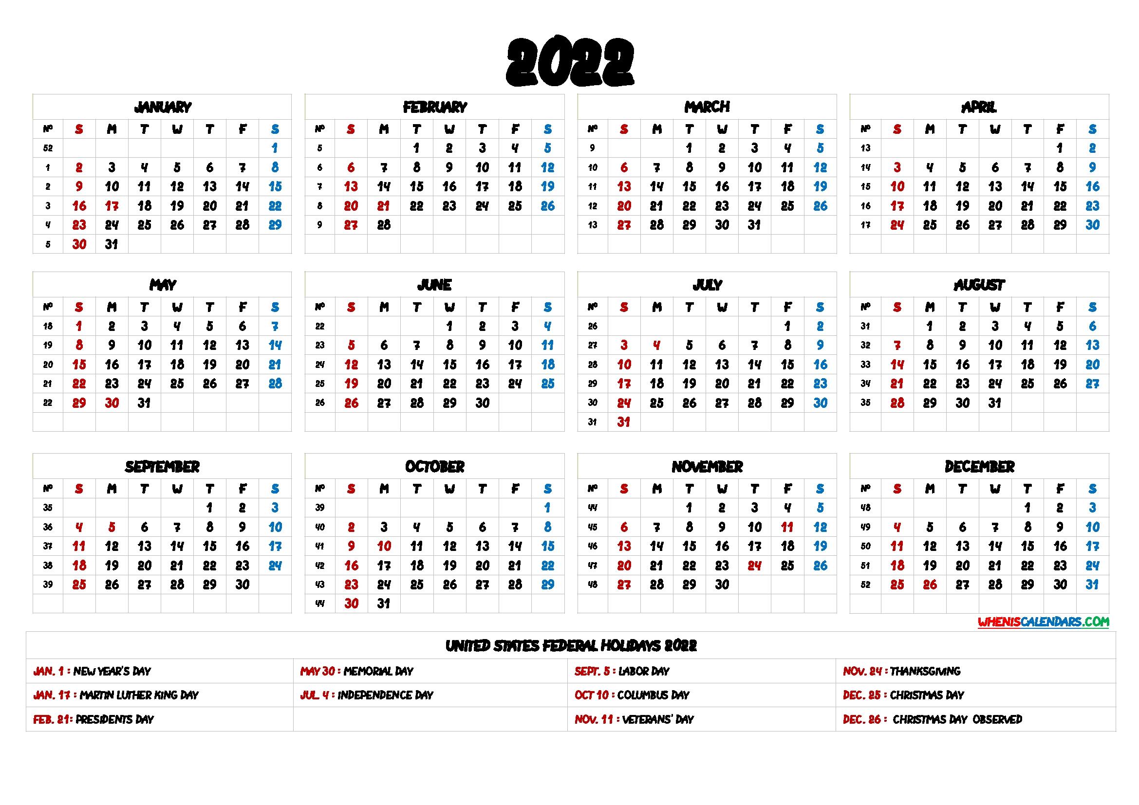 2022 Calendar With Holidays Printable - 6 Templates