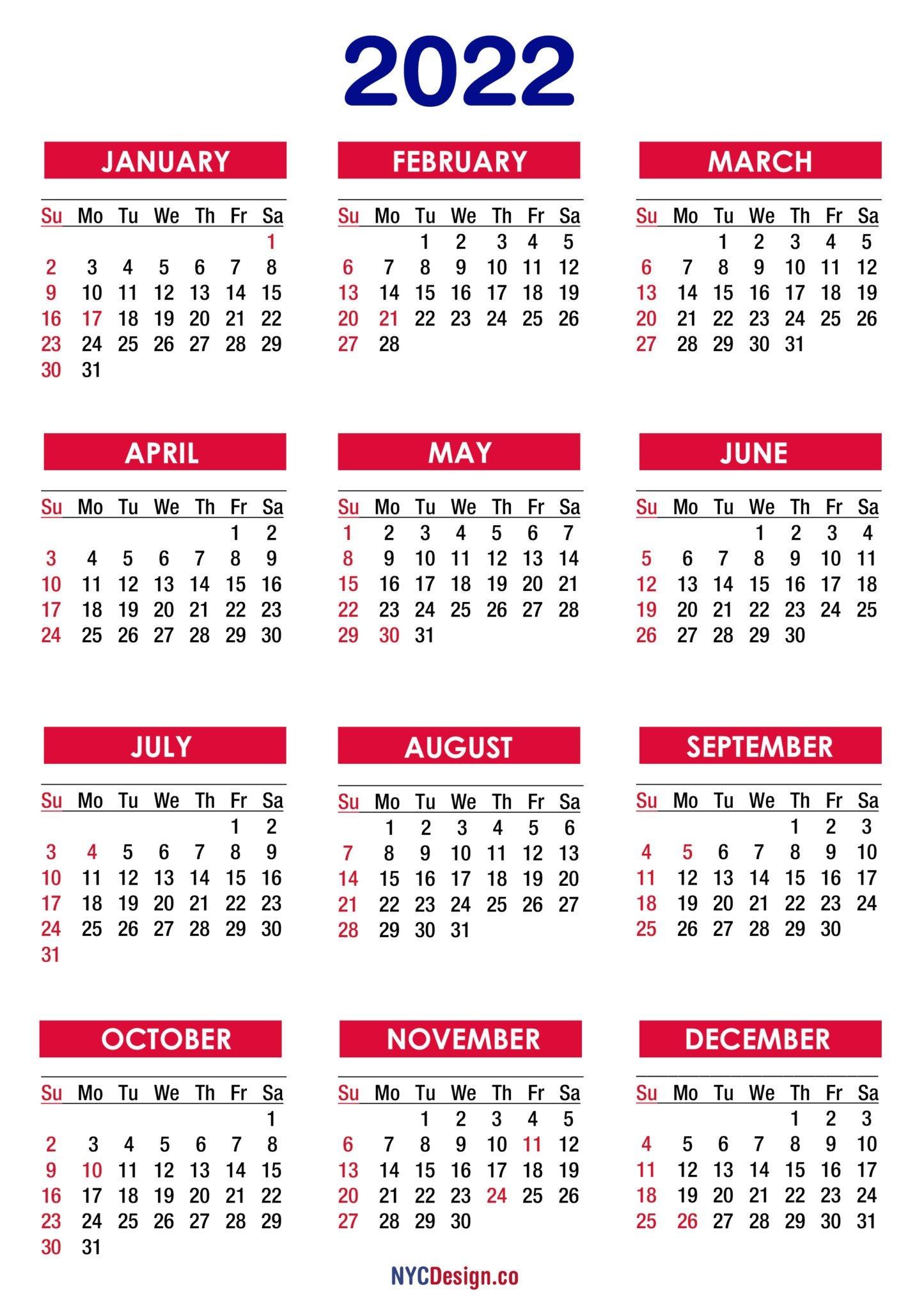 2022 Calendar With Holidays, Printable Free, Pdf, Colorful