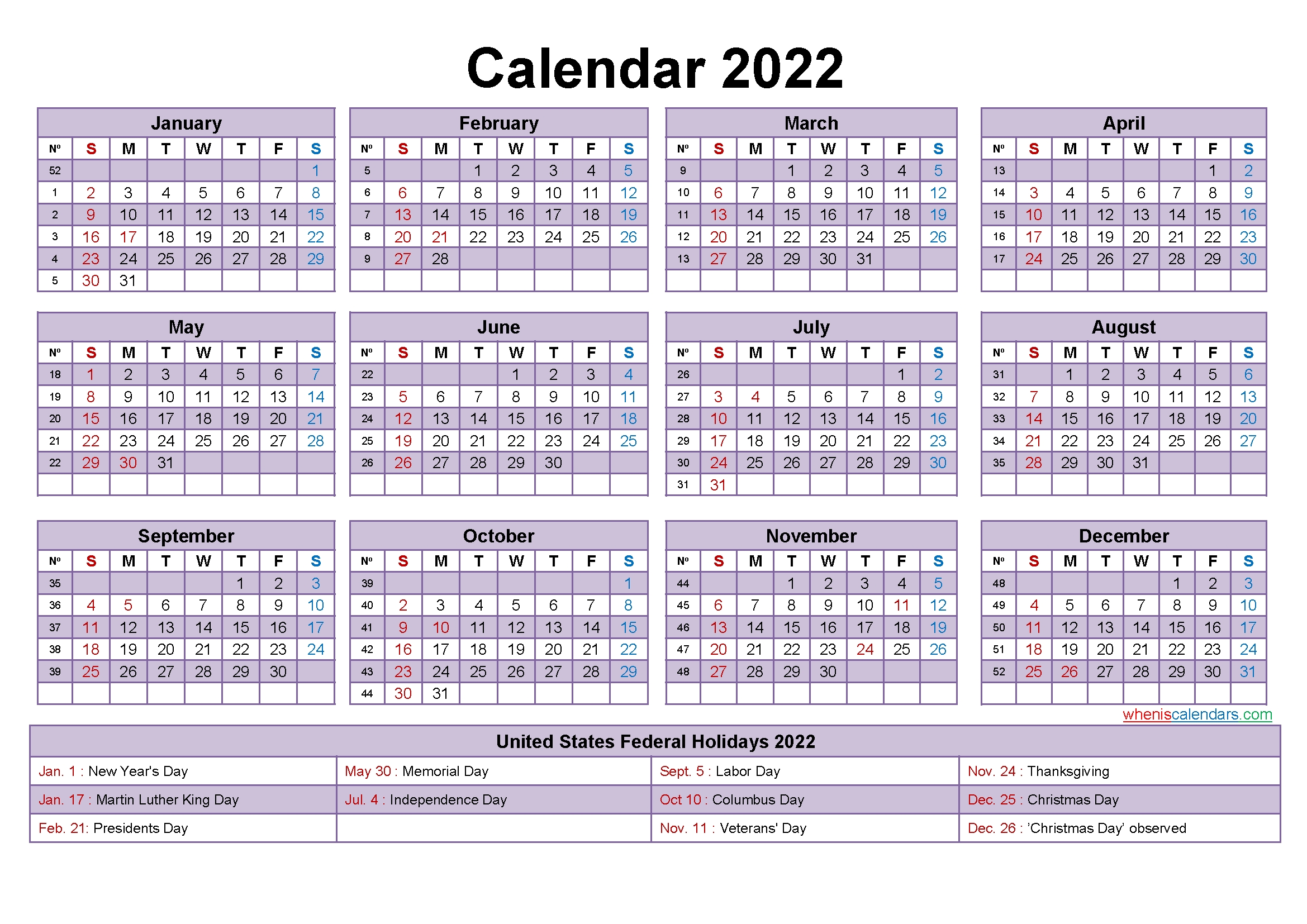 2022 Calendar With Holidays Template Word, Pdf | Free