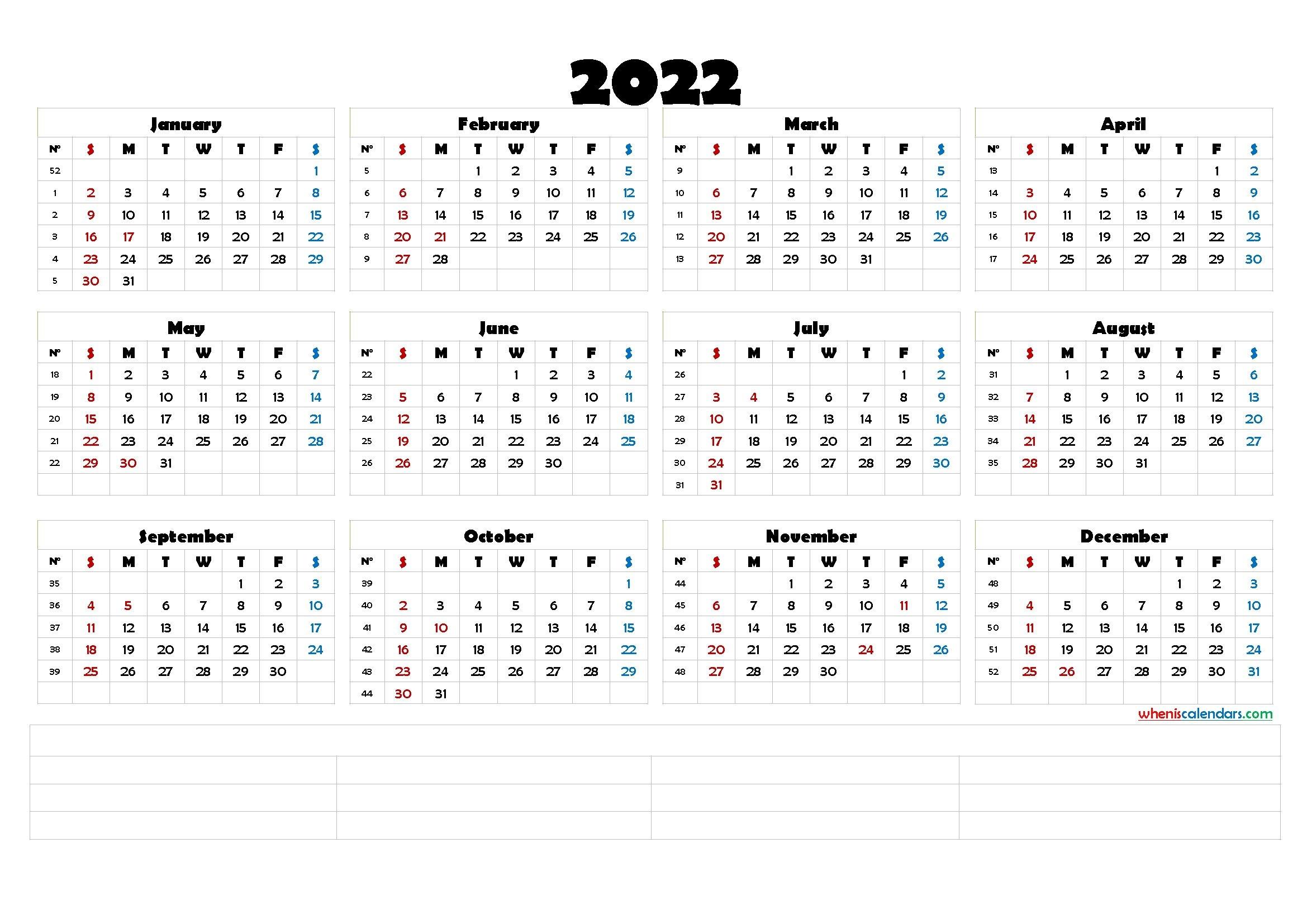 2022 Calendar With Week Numbers Printable [Premium Templates]