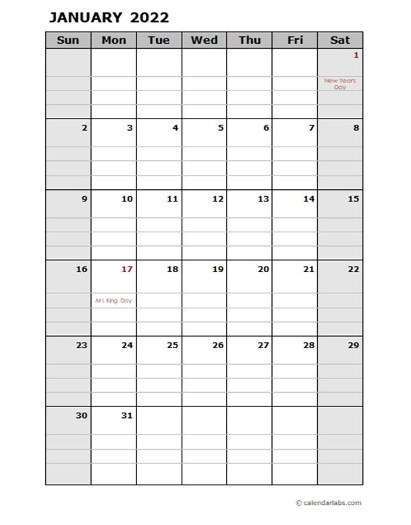 2022 Daily Planner Calendar Template - Free Printable