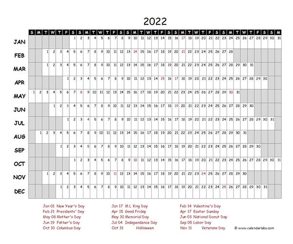 2022 Excel Calendar Project Timeline - Free Printable