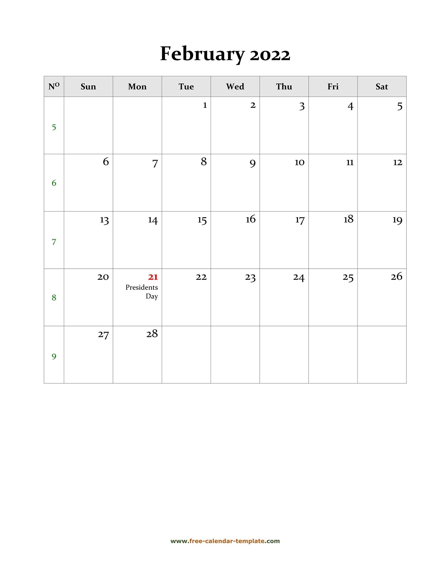 2022 February Calendar (Blank Vertical Template) | Free