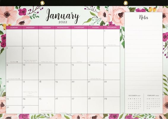 2022 Floral Desk Calendar Pad (12-Month Calendar With