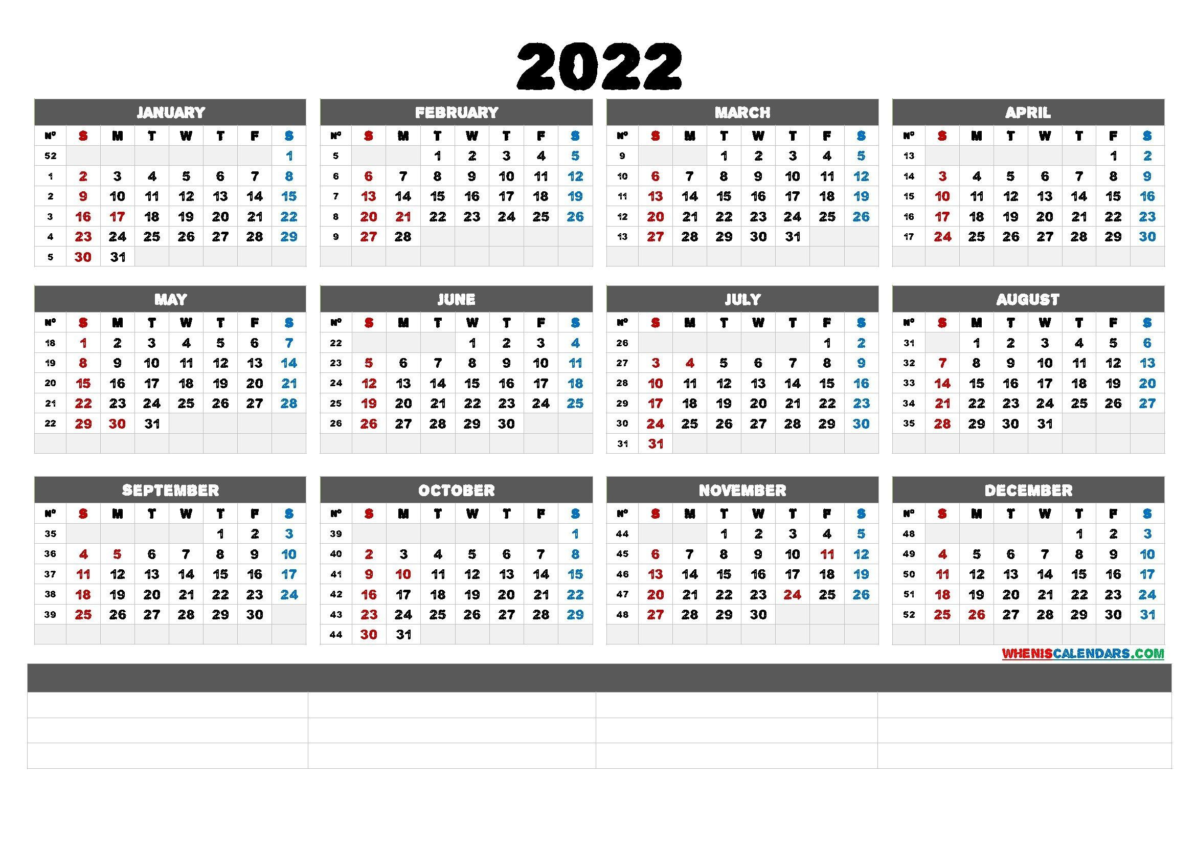 2022 Free Printable Yearly Calendar (6 Templates) - Free