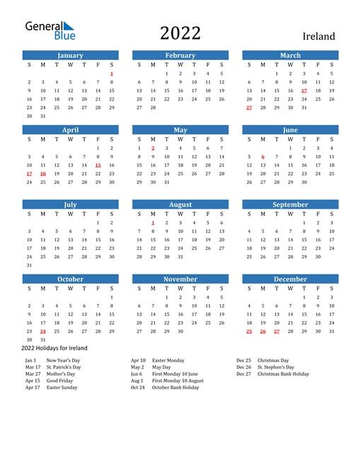 2022 Ireland Calendar With Holidays