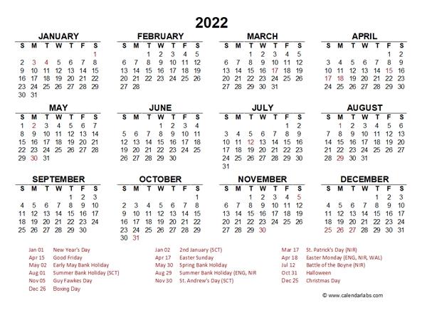 2022 Ireland Quarterly Calendar With Holidays - Free