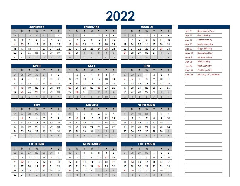 2022 Netherlands Annual Calendar With Holidays - Free