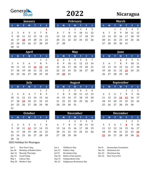2022 Nicaragua Calendar With Holidays