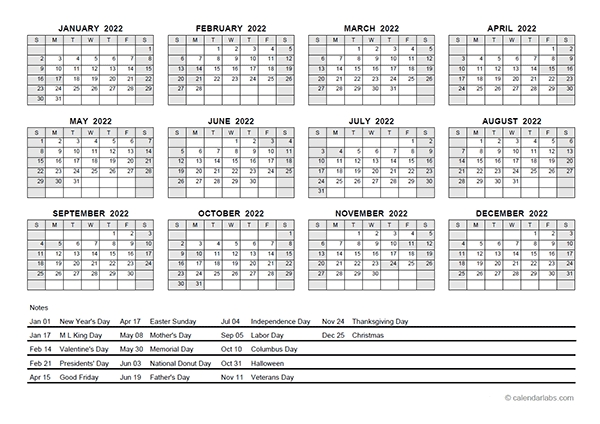 2022 Pdf Yearly Calendar With Holidays - Free Printable