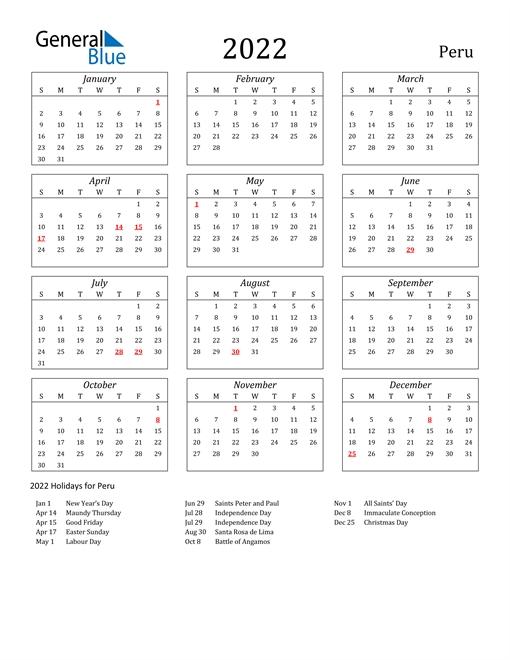 2022 Peru Calendar With Holidays