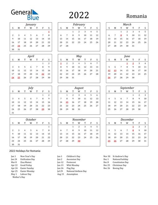 2022 Romania Calendar With Holidays