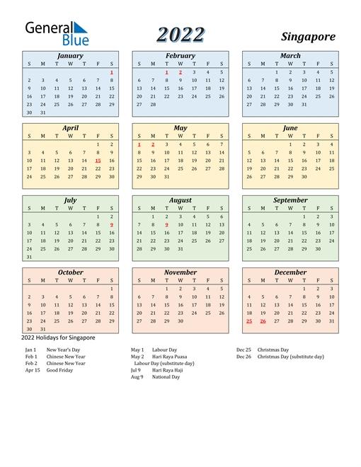 2022 Singapore Calendar With Holidays