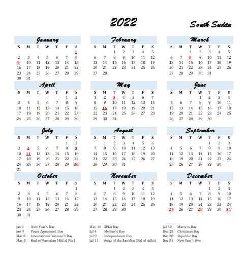 2022 South Sudan Calendar With Holidays   Allcalendar