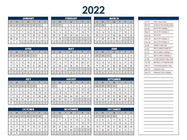 2022 Uae Annual Calendar With Holidays - Free Printable