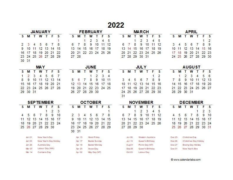 2022 Year At A Glance Calendar With Australia Holidays