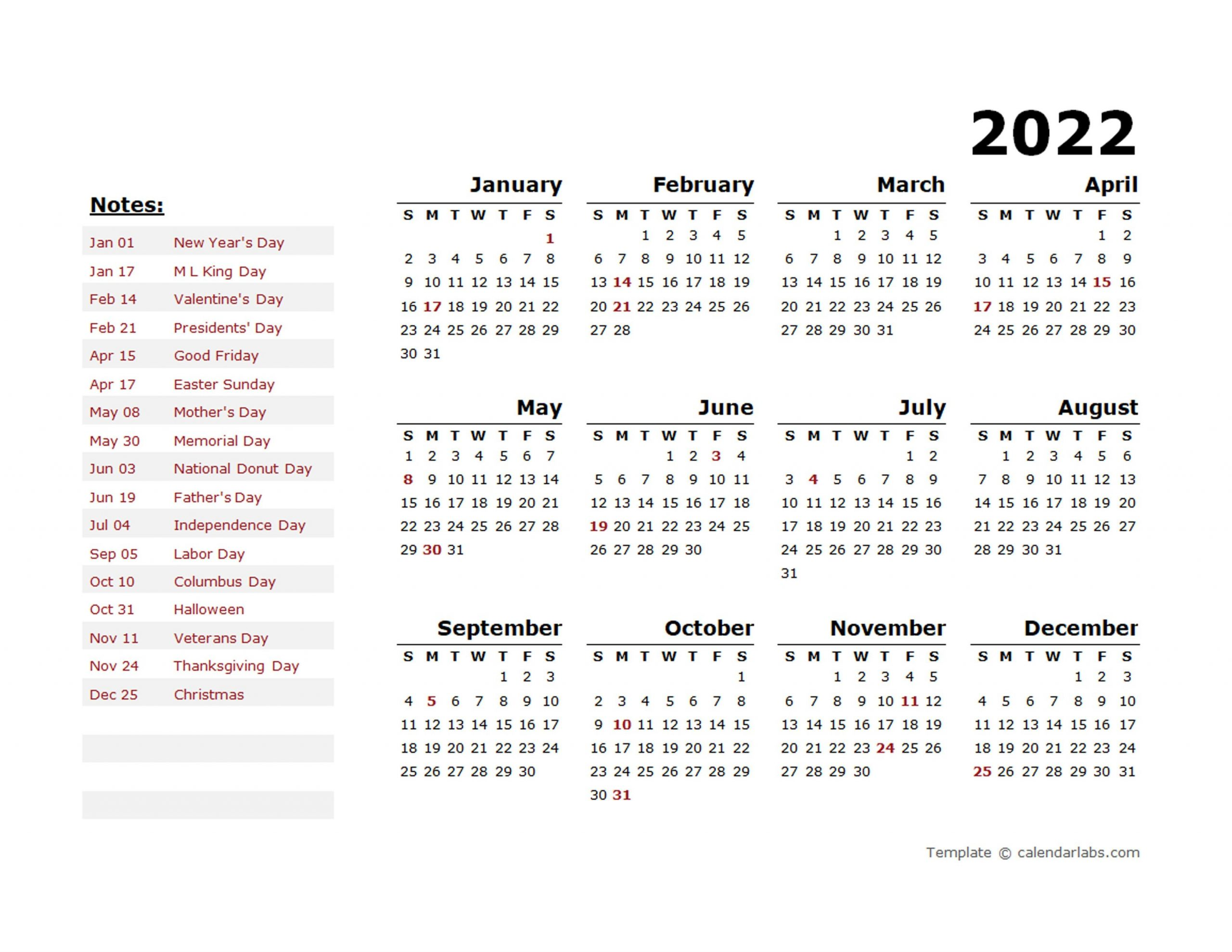 2022 Year Calendar Template With Us Holidays - Free