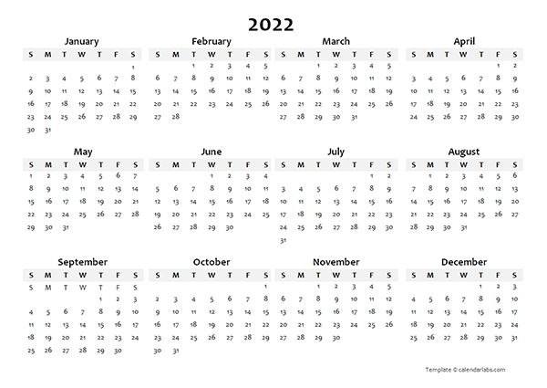 2022 Yearly Blank Calendar Template - Free Printable Templates