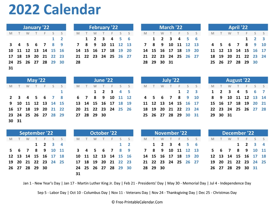 2022 Yearly Calendar