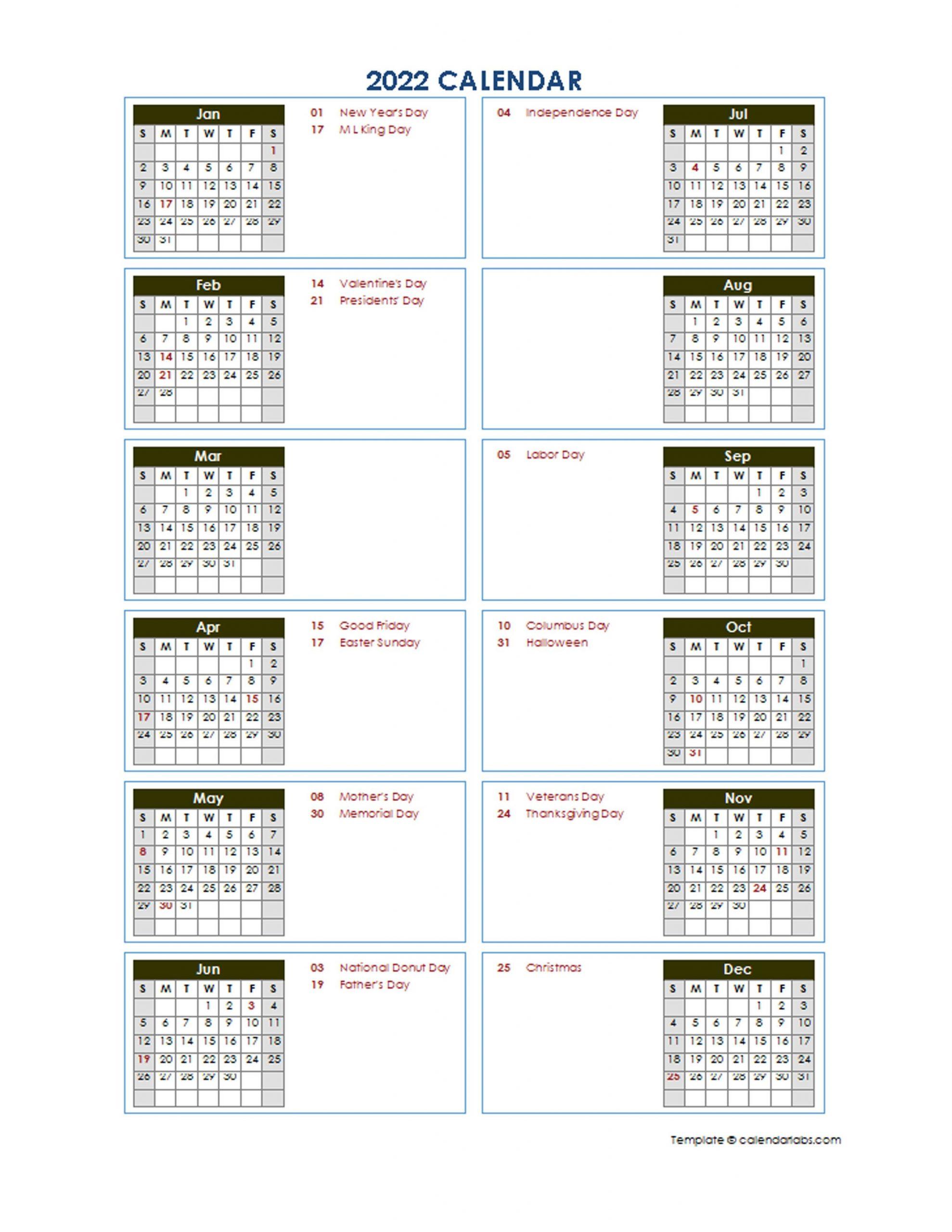 2022 Yearly Calendar Template Vertical Design - Free