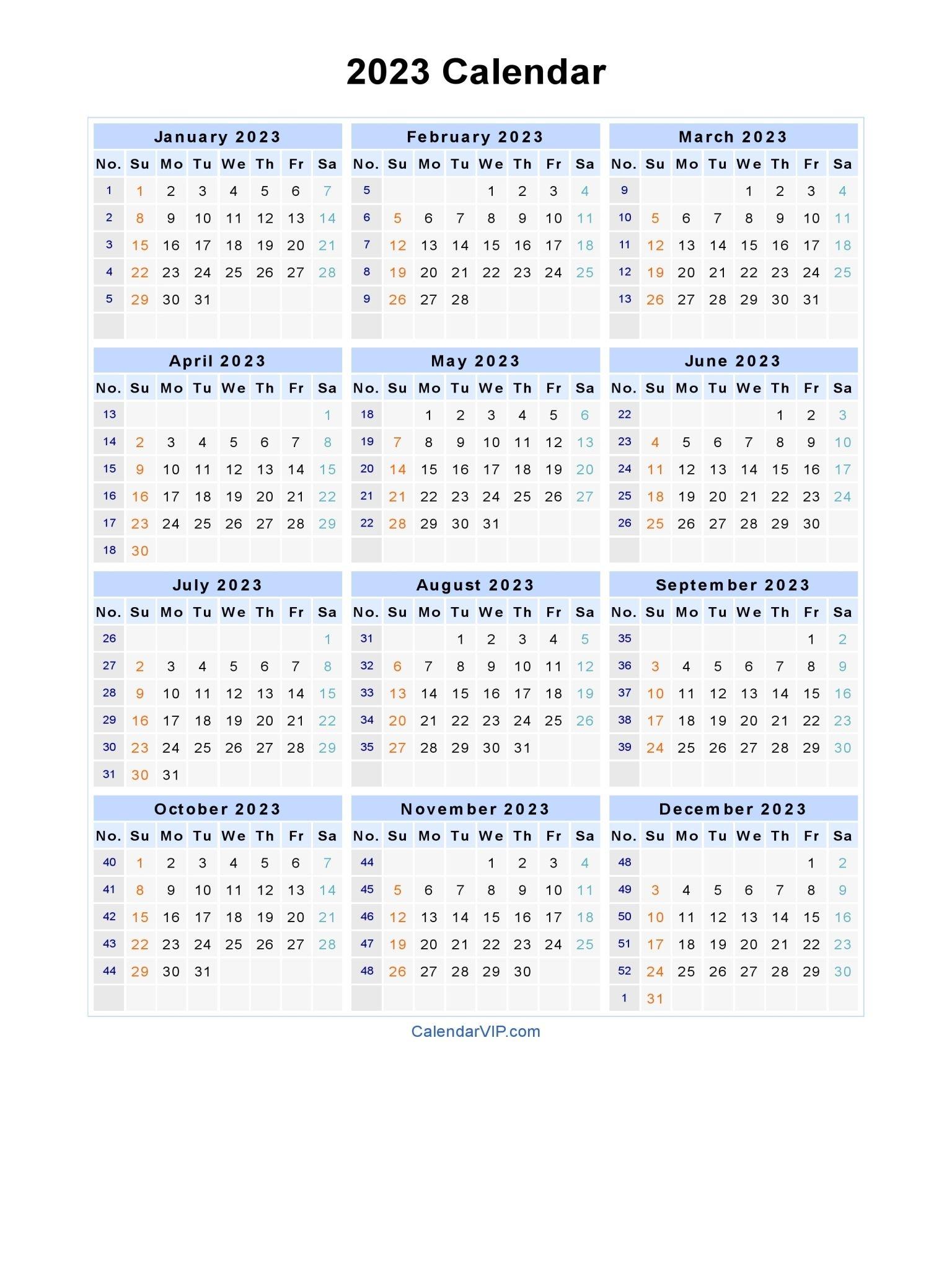 2023 Calendar - Blank Printable Calendar Template In Pdf