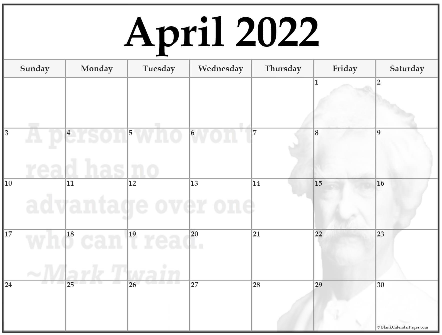 24+ April 2022 Quote Calendars